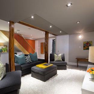 オタワの小さいトランジショナルスタイルのおしゃれな独立型ファミリールーム (グレーの壁、塗装フローリング、暖炉なし) の写真