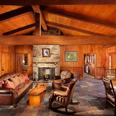 Rustic Family Room by Desmone & Associates