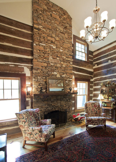 Rustic Family Room by Alan Clark Architects, LLC