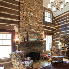Rustic Family Room by Clark & Zook Architects, LLC