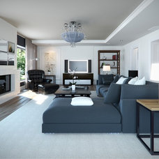 Transitional Family Room by Lompier Interior Group
