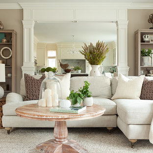 Inspiration for a transitional family room remodel in New York