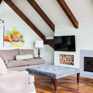 Cette image montre une salle de séjour rustique avec un mur vert, un sol en bois brun, un poêle à bois et un téléviseur fixé au mur.