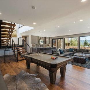 Imagen de sala de juegos en casa abierta, rural, con paredes beige y suelo de madera en tonos medios