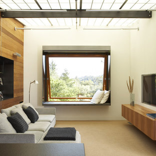 Inspiration for a modern family room remodel in San Francisco with beige walls and a wall-mounted tv