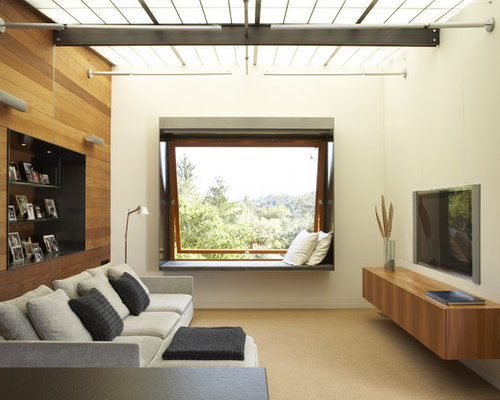 Merveilleux Inspiration For A Modern Family Room Remodel In San Francisco With Beige  Walls And A Wall
