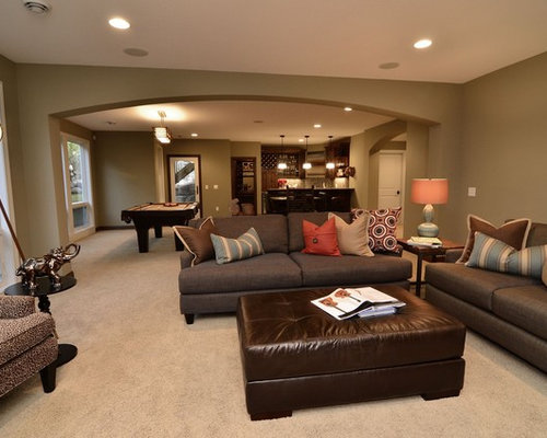 Providence olive paint color houzz for Basement living room paint ideas