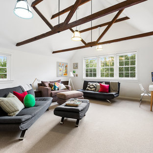 Contemporary family room in Melbourne with white walls, carpet and beige floor.
