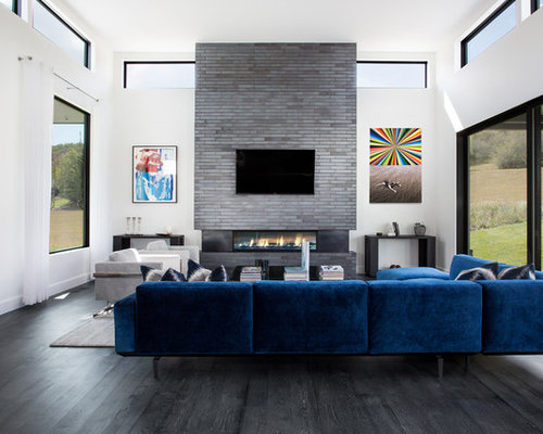 Example Of A Trendy Open Concept Black Floor Family Room Design In Salt  Lake City With