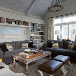 Example of an eclectic family room design in Baltimore with beige walls