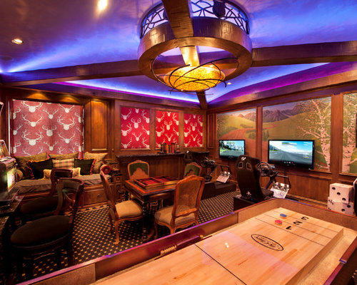 game room lighting. Example Of A Midsized Classic Enclosed Carpeted Game Room Design In Denver With Lighting
