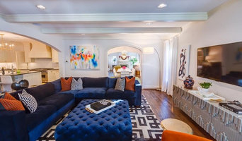 Luxurious Navy Velvet Sectional with Diamond Tufted Ottoman