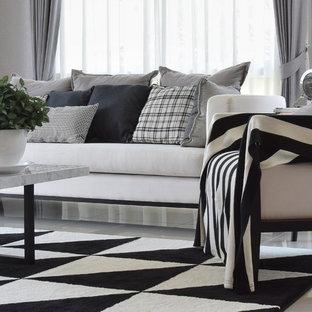 Foto di un grande soggiorno classico chiuso con pareti grigie, pavimento in marmo, nessun camino, nessuna TV e pavimento bianco