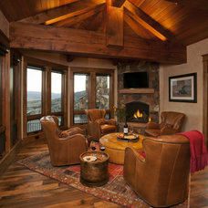 Rustic Family Room by Lynne Barton Bier - Home on the Range Interiors