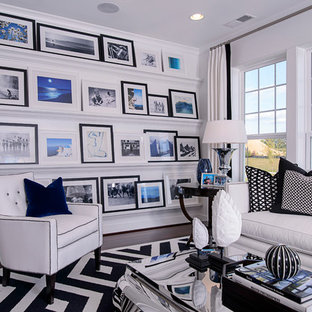 Family room - contemporary family room idea in DC Metro with white walls