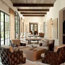 Mediterranean Family Room by G&S Custom Draperies