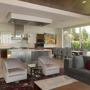 Inspiration For A Large Contemporary Open Concept Porcelain Floor Family  Room Remodel In Las Vegas With
