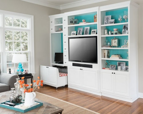 Built In Computer Desk And Shelves | Houzz