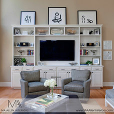 Transitional Family Room by MA Allen Interiors