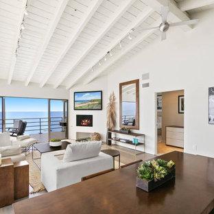 ロサンゼルスの中サイズのビーチスタイルのおしゃれな独立型ファミリールーム (白い壁、淡色無垢フローリング、標準型暖炉、漆喰の暖炉まわり、壁掛け型テレビ、グレーの床) の写真