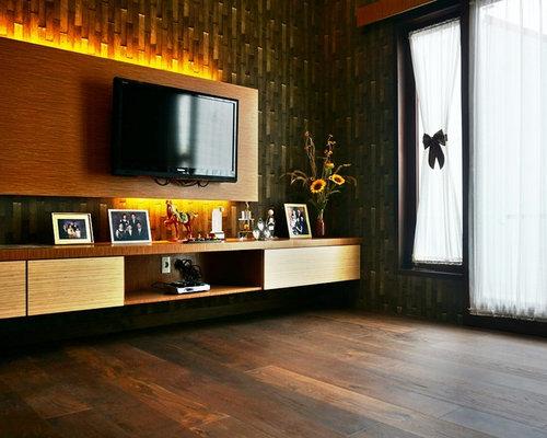 salle de s jour exotique avec un mur multicolore photos et id es d co de salles de s jour. Black Bedroom Furniture Sets. Home Design Ideas
