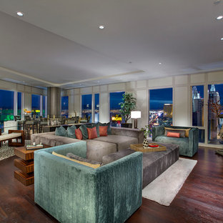 This is an example of a large asian loft-style family room in Las Vegas.