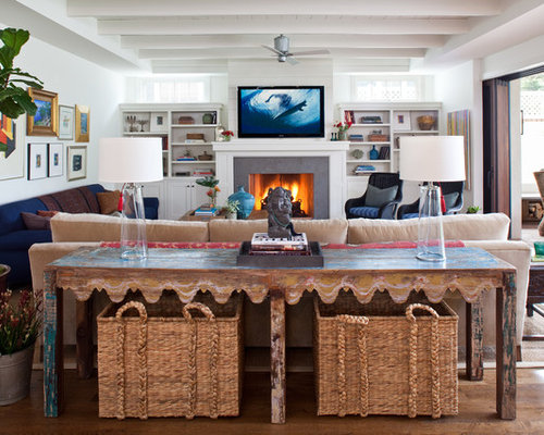 Example Of A Coastal Medium Tone Wood Floor Family Room Design In Los  Angeles With White