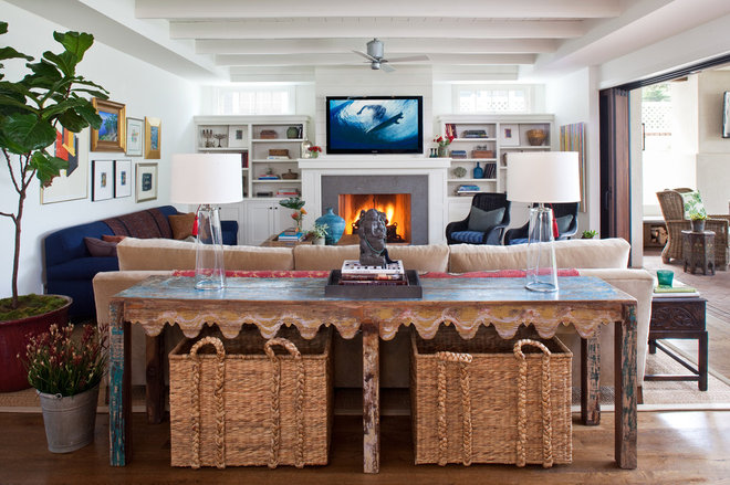 Beach Style Family Room by Bungalow Design