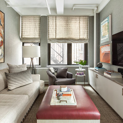 Inspiration for a mid-sized contemporary enclosed carpeted and brown floor family room remodel in New York with gray walls, no fireplace and a wall-mounted tv