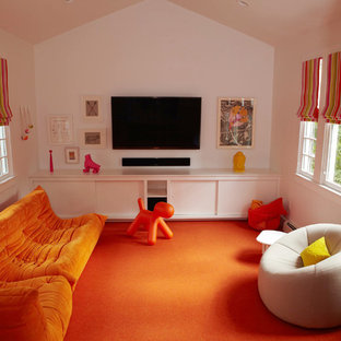 Mid-sized minimalist enclosed carpeted and orange floor family room photo in New York with white walls, no fireplace and a wall-mounted tv