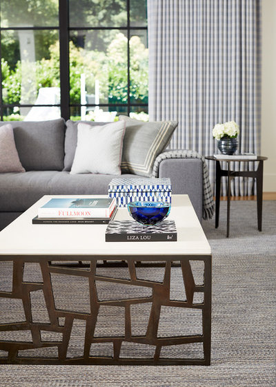Transitional Family Room by Kelly Hohla Interiors