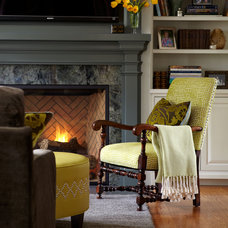 Traditional Family Room by Carolyn Rebuffel Designs