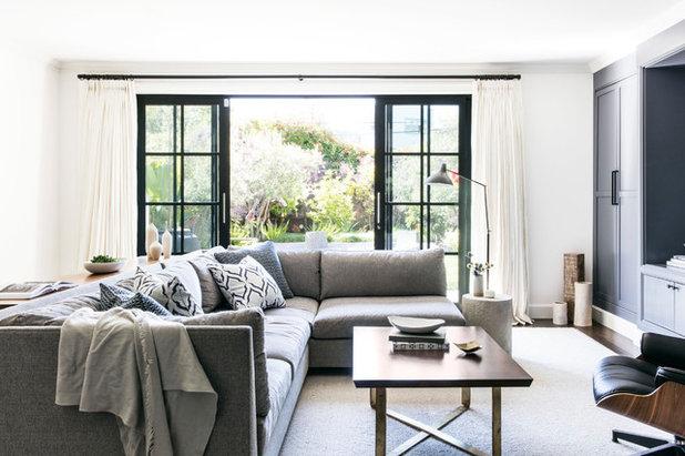 Transitional Family Room by Lauren Nelson Design