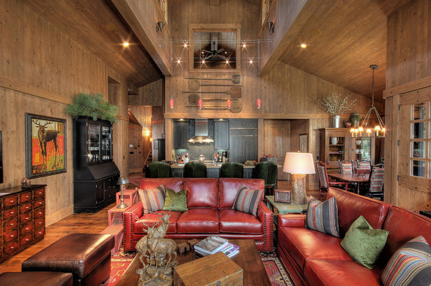Rustic Family Room by Studio V Interior Architecture and Design