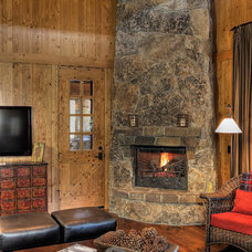 Rustic Family Room by Studio V Interior Design