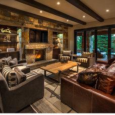 Rustic Family Room by Sarah Jones Design
