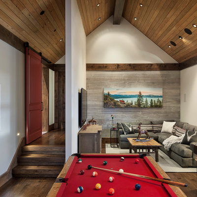 Inspiration for a mid-sized rustic open concept dark wood floor and brown floor family room remodel in Sacramento with beige walls and a wall-mounted tv