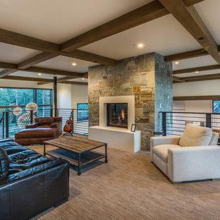 サクラメントの広いコンテンポラリースタイルのおしゃれなオープンリビング (ミュージックルーム、白い壁、カーペット敷き、標準型暖炉、コンクリートの暖炉まわり、テレビなし、ベージュの床) の写真