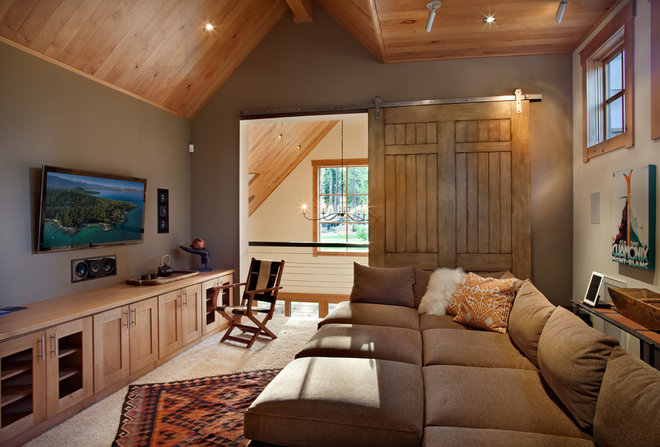 Contemporary Family Room by Crestwood Construction Inc.