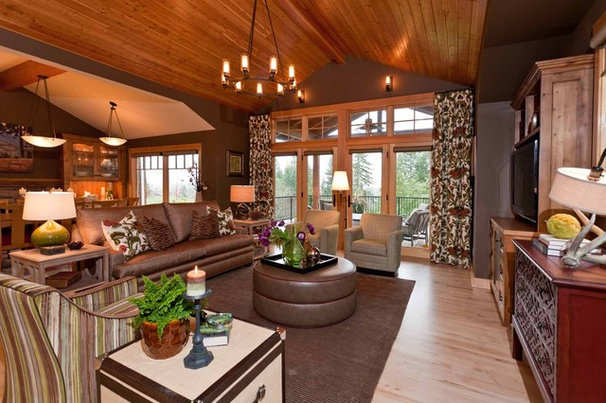 Rustic Family Room by Angela Todd Designs, Portland, OR