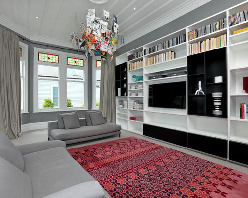 Inspiration For A Contemporary Family Room Remodel In Auckland With Gray  Walls And A Media Wall