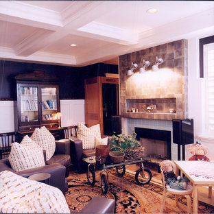 Inspiration for a mid-sized transitional open concept concrete floor family room remodel in Salt Lake City with white walls, a standard fireplace, a tile fireplace and no tv