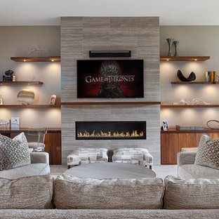 Mid-sized transitional open concept family room photo in DC Metro with gray walls, a ribbon fireplace, a tile fireplace and a wall-mounted tv