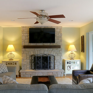 Small contemporary open concept family room in Chicago with a standard fireplace and a stone fireplace surround.