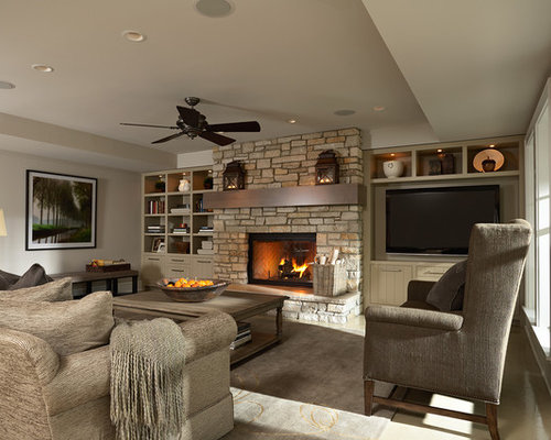Tv next to fireplace houzz - Expansive large glass windows living room pros cons ...