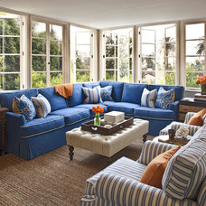 Transitional Family Room by Jeneration Interiors
