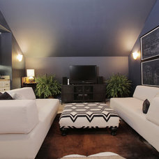 eclectic media room by Lindsay von Hagel