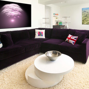 Example of a mid-sized trendy open concept dark wood floor family room design in Toronto with white walls