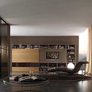 Ejemplo de sala de estar minimalista con paredes marrones