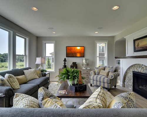 gray yellow blue family room design ideas remodels photos houzz